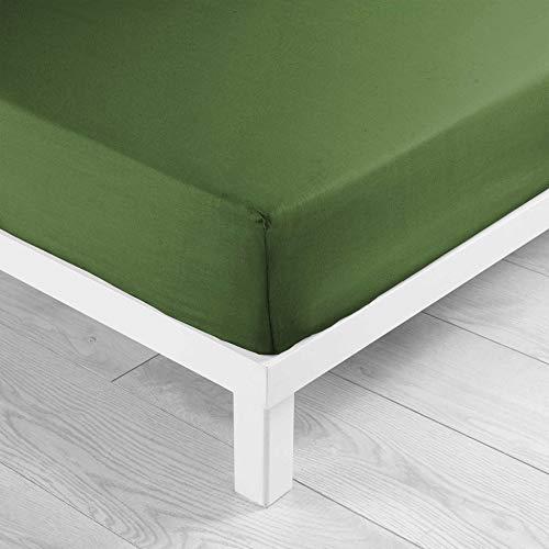 Douceur d'Intérieur - Sábana Bajera para Cama Individual (90 x 190 cm), Color Verde
