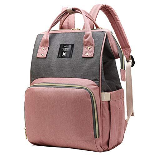 Mochila cambiador de pañales – Bolsas de pañales grandes, multifunción, impermeable, mochila de maternidad para cuidado del bebé Pink&Grey Talla:talla única