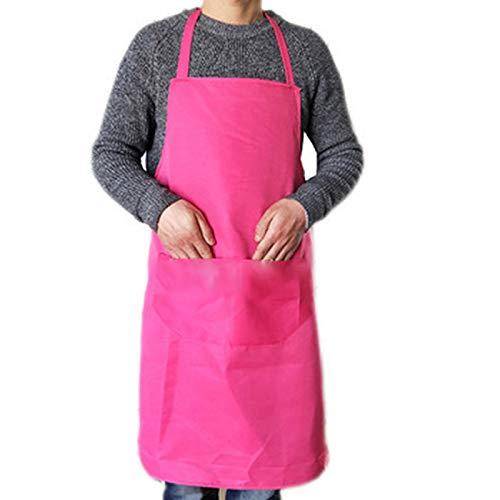 MLOPPTE Delantales de cocina coloridos Accesorios de limpieza de cocina Delantal para adultos Sin mangas Conveniente Hombre Mujer Chefs Delantal universal Bolsillo roseapron