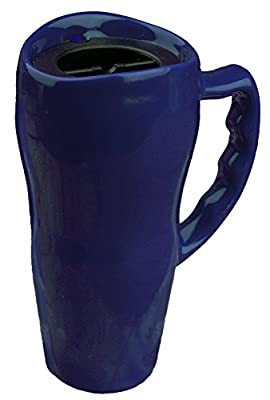 Cobalt Blue Thick Ceramic Travel Mug With Lid And Handle