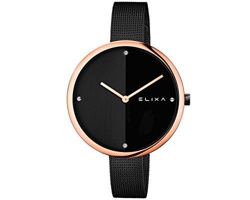Elixa Beauty E106-L427 - Reloj de pulsera analógico para mujer (mecanismo de cuarzo, correa de acero, esfera negra)