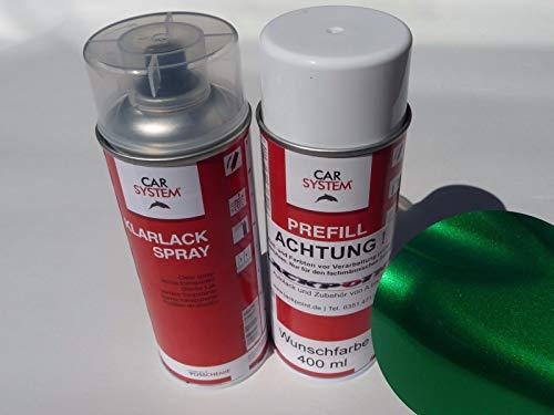 Juego de botes de espray de 400 ml de pintura base Candy Green 2 metalizada + barniz transparente para tuning