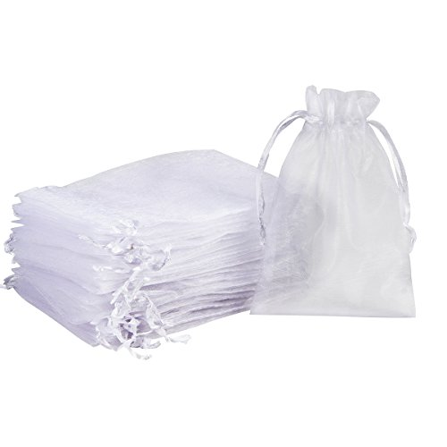 "Madholly 300 Pieces Sheer Drawstring Organza Gift Bags,3.9""x5.7"" Wedding Party Christmas Favor Bags Jewelry Pouches Wrap"
