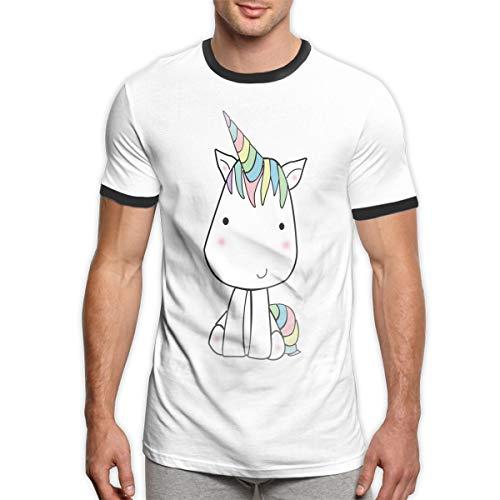 MASKMAN Little Unicorn 1 Herren Kurzarm Kontrast T-Shirts Sport T-Shirt(S,Black)