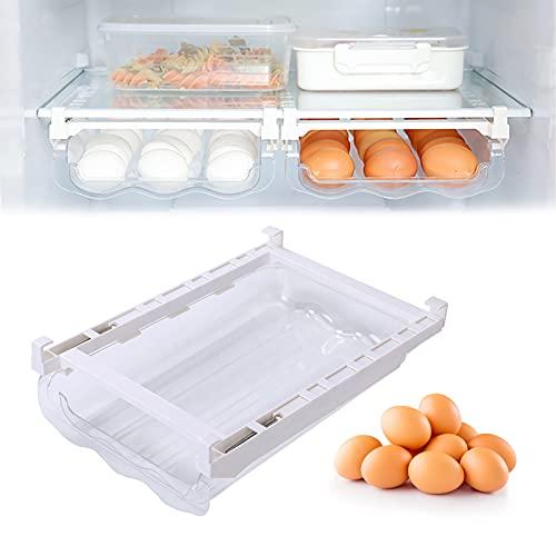 Eierhalter Schublade, Schubladen Eierhalter, Eier Behälte, Kühlschrank Schublade Organizer Bins, mit Griff und Verstellbarer, Eierschalenhalter für Storage Eggs und Halte es Frisch (21 Eier)