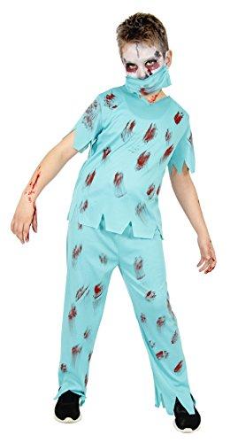 Foxxeo Zombie Arzt Kostüm für Kinder zu Halloween Chirurg Fasching Karneval Größe 134-140