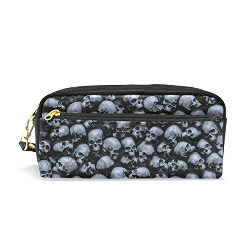 Chic Houses Gothic Skull Cosmetic Bag Stationery Pencil Pouch Mysterious Personality Wash Pouch Travelling Portable for Student and Women 2030088