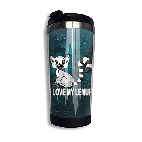 Taza de café de acero inoxidable 304 I Love My Lemur especialmente diseñada para la taza de café perfecta de viaje