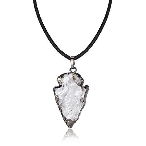 coai Geschenkideen Halskette Druzy Pfeilspitze Anhänger aus Bergkristall mit Lederkordel Glückskette für Damen und Herren