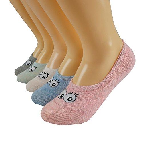 WANGWO Oneworld Damen Frau Mädchen 6 Paar Füßlinge Ballerina No-Show Liner Socken Bunt Gemischt Invisible Non-slip Baumwollen Belüftet Lieblich Kühl