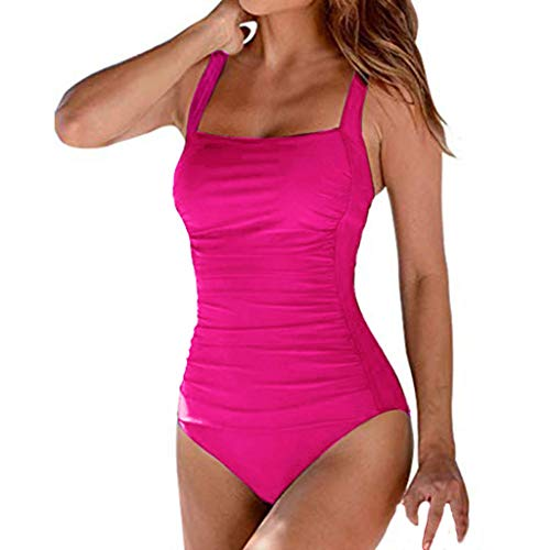 Bilbull Bikini para mujer con estampado de leopardo, acolchado, push-up, sexy, cintura alta, de un solo color Rosa. M