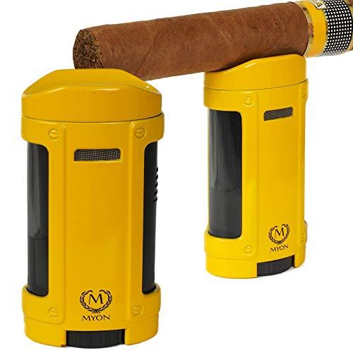 Lifestyle-Ambiente Myon Feuerzeug mit Zigarrenablage Quadro-Jet Cohiba-Stil inkl Tastingbogen