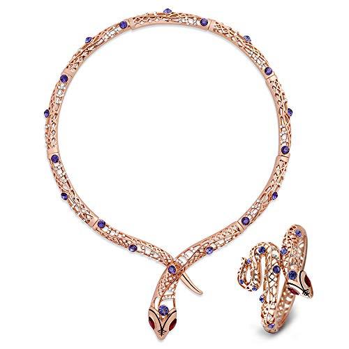 Collar de serpiente Viennois para mujer, color oro rosa, gargantillas, collares de cristal de estrás, joyería de boda y fiesta 2019