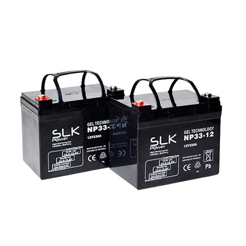 Par de baterías de gel AGM Mobility Scooter – 12 V x 33 Ah, 36 Ah, 40 Ah, 50 Ah, 55 Ah, 75 Ah, color negro