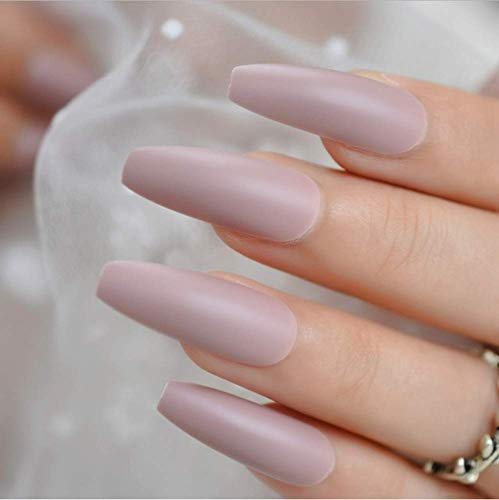 Valse nagels, nep nagels, natuurlijke parel elegante touch Franse Manicure, gele druk op valse nagels, extra lange ballerina vorm uv gel lijm op vingersnails 6