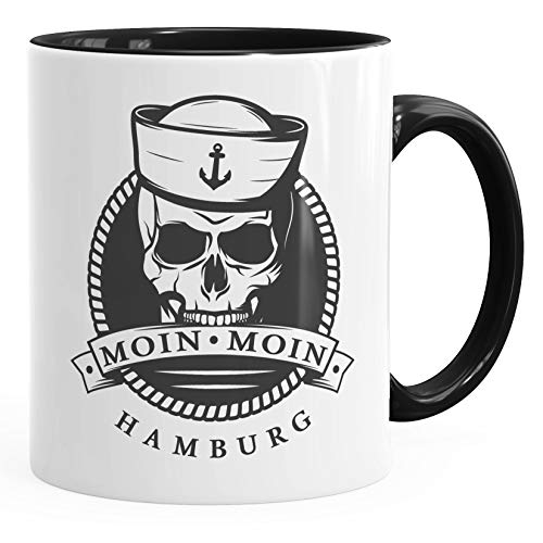 MoonWorks® - Taza de café, diseño de calavera, diseño de ancla, cerámica,...