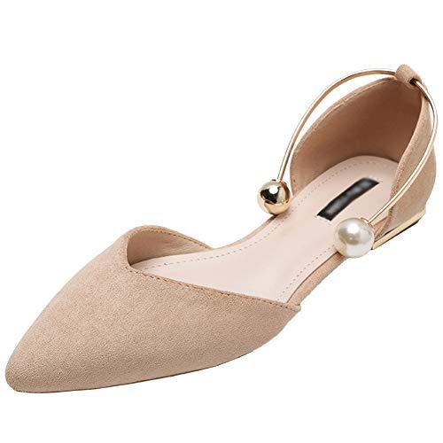 Jamron Mujer Dedo Punteado Terciopelo Bailarinas Elegante D'orsay Pumps Plano Zapatos de Vestir Albaricoque SN02800 EU35