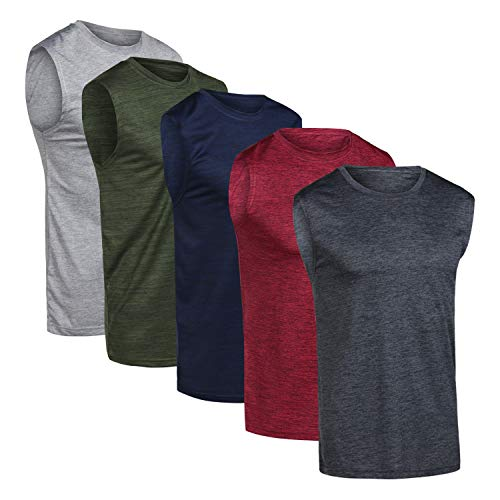 Men's Quick Dry Fit Dri-Fit Jersey Sleeveless Tank Top Muscle Yoga Active Performance Sport Basketball Beach Gym Workout Running Fitness Athletic Bodybuilding Undershirt -Set 2,XL