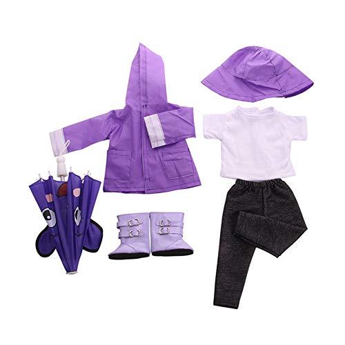 Uteruik Puppen-Regenmantel, Kleidung für 46 cm, American Girl Puppe Outfits – Regenhut, Stiefel, T-Shirt, Mantel, Hosen und Regenschirm, Kostüm-Zubehör, 6-teiliges Set violett