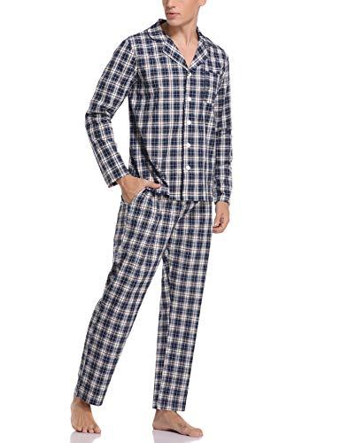 Aibrou Pijama Hombre Invierno de Algodón 2 Piezas Pijamas