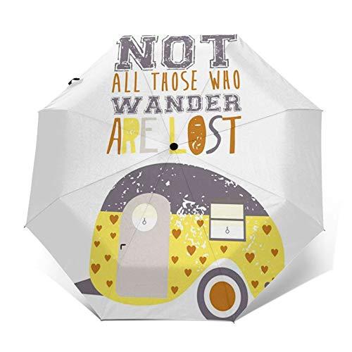Regenschirm Taschenschirm Kompakter Falt-Regenschirm, Winddichter, Auf-Zu-Automatik, Verstärktes Dach, Ergonomischer Griff, Schirm-Tasche, Happy Bus Car Caravan Text