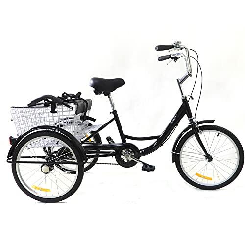 Futchoy Triciclo para adultos de 20 pulgadas, velocidad única, 3 bicicletas, con asiento para niños, cesta de la compra para personas mayores