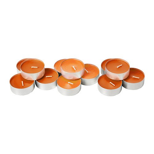 IKEA sinnlig – Duftkerze in Metall Tasse, Tangerine Sunshine, orange/12 pack/12 pack