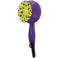 Tourmaline, Ceramic Technology Tames Frizz and Boosts Shine Chill out button releases cool air to set the style. Diffuser Dryer is Designed with Curly Hair Gals in Mind 3 Heat / 2 Speed Settings with Cool Shot Button to Lock in the Style Diffuser Dry...