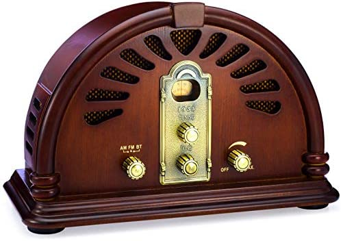 ClearClick Classic Vintage Retro Style AM FM Radio with Bluetooth Handmade Wooden Exterior product image