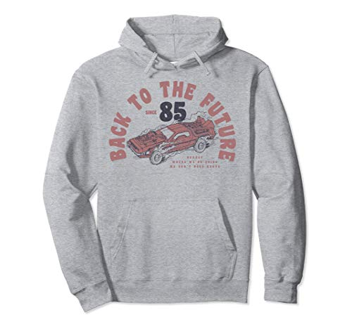 Back To The Future '85 Vintage DeLorean Hoodie, Gray, Unisex, S to 2XL