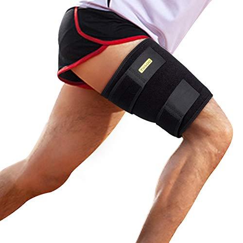 Muslera y soporte muslo, soporte de compresión para muslo, ajustable manga de compresión para muslo con tiras antideslizantes para lesiones de tendinitis, para hombres y mujeres
