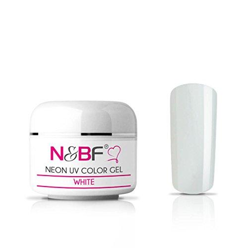 N&BF Neon Farbgel 5ml | White (Weiß) | UV Colour Gel für Gelnägel | Effektgel für künstliche Fingernägel mittelviskos | Made in EU | Nagelgel UV neon | Colorgel ohne Säure + selbstglättend