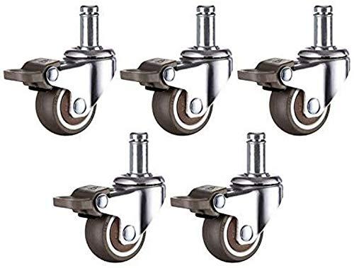 WWJ Rueda giratoria 5 unids/Lote Ruedas giratorias para sillas de Oficina 1.5/2 Pulgadas Ruedas giratorias de Goma Suave TPE Ruedas giratorias Hardware de Muebles de Repuesto Robot Aspir