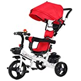 Sallymonday 5 in 1 Baby Tricycle Steer Stroller Toy Bike w/Adjustable Canopy, Safety Seat, Storage Basket, Foot Pedals, Brake, Shock Absorption Design, for Kids Age 6 Months to 6 Years Old (Red)