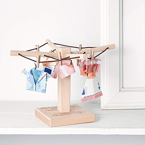 Casa Vivente – Wäsche-Spinne aus Holz mit Gravur zur Hochzeit – Bleibt einander stets verbunden – Motiv: Herzen – kreative Verpackung für Geldgeschenke – Hochzeitsgeschenke – Maße: 20 x 12 cm - 3