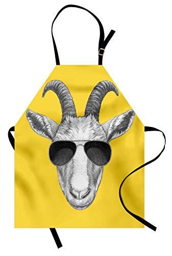 ABAKUHAUS Gafas de Sol Delantal de Cocina, Gris Dibujado Mano de Cabra, Resistente al Agua y la Suciedad Estampa Digital, Mostaza Gris Oscuro