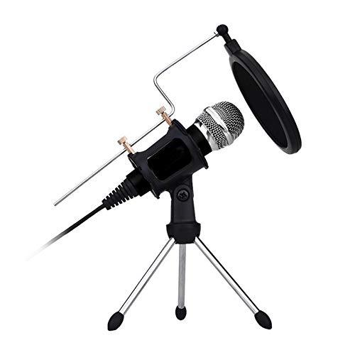 Micrófono de condensador USB, QBody micrófono profesional para PC Micrófono USB para Podcast Studio para YouTube, Facebook, Twitch (Windows/Mac) (Black)