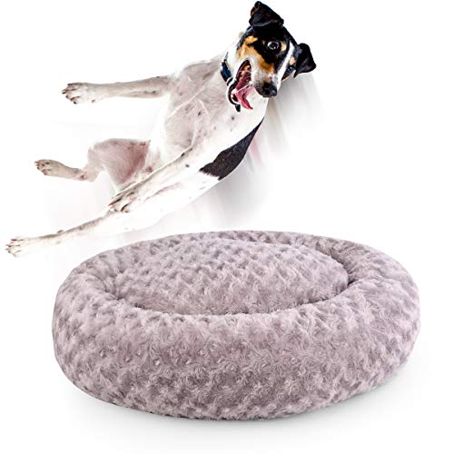 Dog Beds for Medium Dogs Calming Pet Bed for Small Dogs Bed Furniture Donut Round Anti Anxiety Dog Bed Doggy Bed Fluffy Fuzzy Cat Bed Cuddler Camas para Perros Dark Gray 24 Inch
