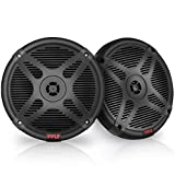 6.5 Inch Bluetooth Marine Speakers - 2-Way IP-X4 Waterproof and Weather Resistant Outdoor Audio Dual Stereo Sound System with 600 Watt Power and Low Profile Design - 1 Pair - Pyle PLMRBT65B (Black)