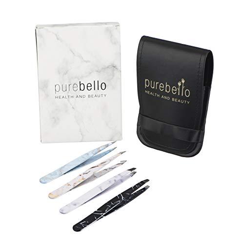 Marmor Pinzetten Set – 4-teilig - 100% rostfreies Edelstahl – mit Kosmetiktäschchen ß 5 Jahre Garantie – Purebello Qualitätsprodukt