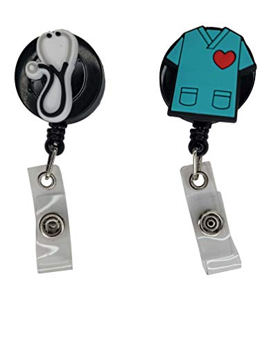 2 Pack Retractable Medical Badge/Key Card/ID Holder with Clip – Black Clip with Scrub – Name/ID Card Holders for Nurse, Doctor, Dentist, EMT, Paramedic. Medical