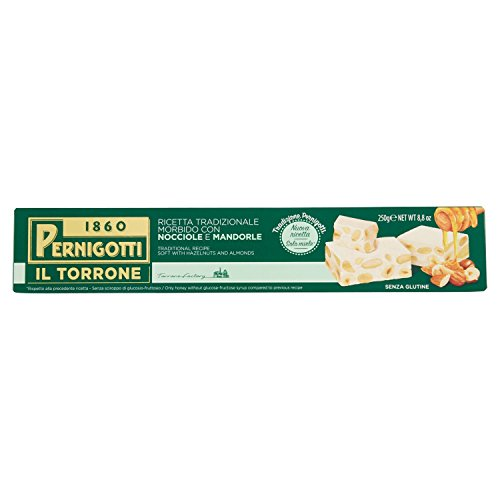Pernigotti, Torrone Morbido Nocciola e Mandorla, Senza Glucosio e Fruttosio, con Miele, Nocciole e Mandorle, 250 gr