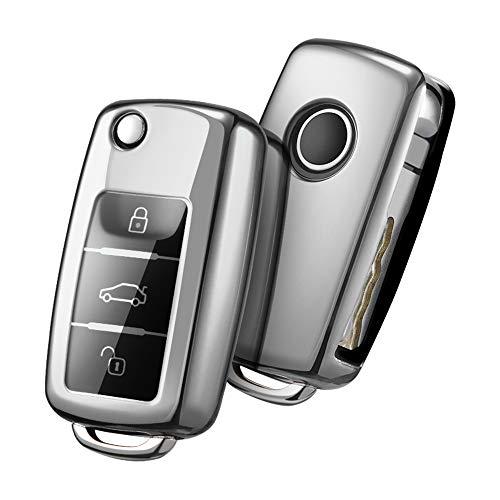 OATSBASF Autoschlüssel Hülle VW,VW Golf Schlüsselbox,Schlüsselhülle Cover für vw Polo Passat Skoda Seat 3-Tasten(Silver)[Verpackung:MEHRWEG]