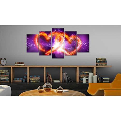 TIANJJss 5 foto's op canvas met modulaire afbeeldingen op canvas en frame 5 stuks rode hartjes schilderij glans woonkamer druk liefde abstract poster decoratie voor thuis