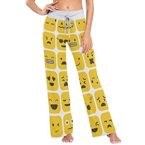 MONTOJ Pantalones de pijama para mujer con diseño de Emoji