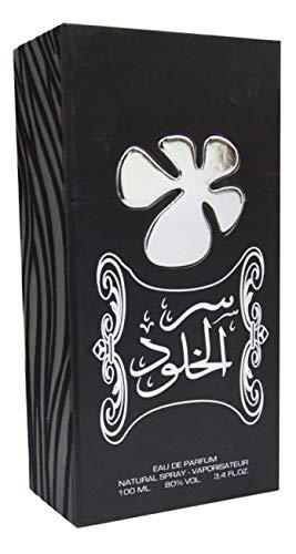 Parfum SER AL KHULOOD Parfum Unisex 100ML Eau de Parfum Oriëntaals Arabisch, een parfum van hoge kwaliteit OPMERKINGEN: Peper, Kardemom, Roos, Geranium, Benzoë, Agarwood Oudh, Ceder, Wierook en Amber