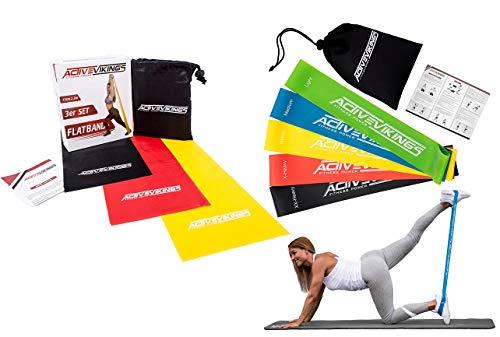 ActiveVikings Bundle 5er Set Loops + 3er Set Flatbands - Ideal für Muskelaufbau Physiotherapie Pilates Yoga Gymnastik und Crossfit | Fitnessband Gymnastikband Widerstandsbänder