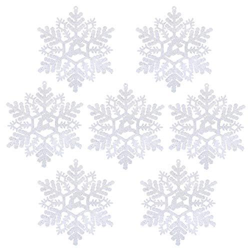 LIHAO 24 Copos de Nieve para árboles de Navidad, de Color Blanco con Purpurinas Colgantes Decoraciones Plastico