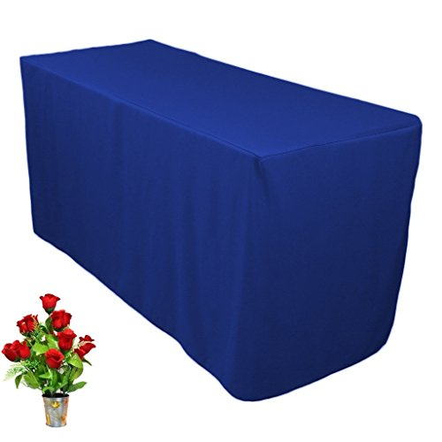 OWS 6' Feet 6 Foot Fitted Rectangle Polyester Table Cloth Tresale Table Cover Trade show Booth DJ 6 ft Blue - 1 Pc