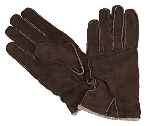Bugatti Herrenhandschuhe Handschuhe Veloursleder mit Strickbündchen Braun 8363, Farbe:Braun, Größe:M